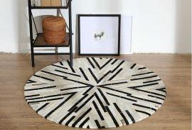 Leather Carpet Starr 200X200cm-black-white