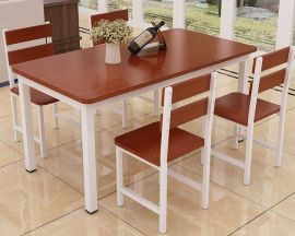 Dinning table set 4chairs Dougal-white-brown