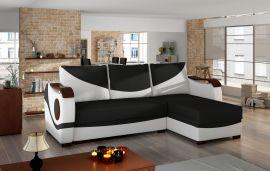 Corner sofa bed Perica-black-white