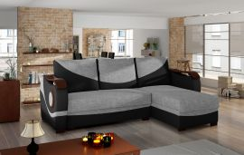 Corner sofa bed Perica-black-grey