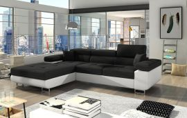 Corner sofa bed Marcia-black-white-left