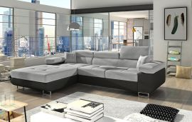 Corner sofa bed Marcia-black-grey-left