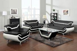 Sofa set Calgary 1+2+3-black-white