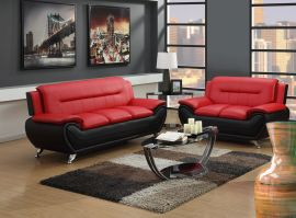 Sofa set Emilia 3+2-black-red