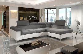 Corner sofa bed Fletcher -white-grey-right