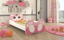 Barnsäng med madrass Bear 160x80cm rosa