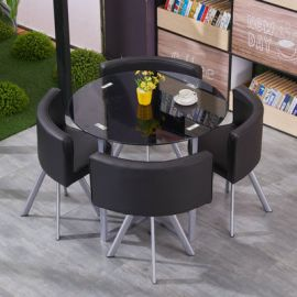 Dinning table set 4 chairs Fausto-black