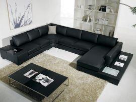 U-Corner Sofa Ferrara leather-black