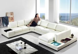 U-Corner Sofa Ferrara leather-white