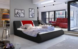 Bed Freya with storage 160-180-black-red-160x200cm