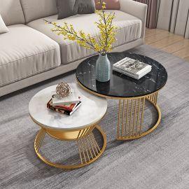 Round Coffee Table Fonsie-black-white