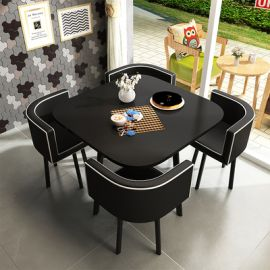 Dinning table set 4 chairs Parviz-black