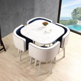 Dinning table set 4 chairs Parviz-white