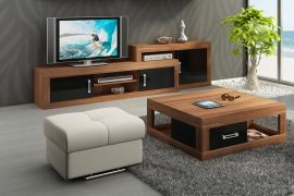 TV-Stand and coffeetable set Riny-black-brown