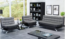 Sofa set Comfy 3+1+1-black-grey
