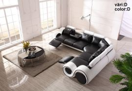 Space Family Corner sofa with foldable table-black