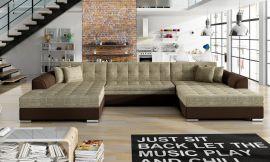 Corner sofa bed Helena-beige-brown