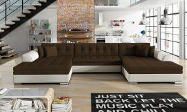 Corner sofa bed Helena-white-brown