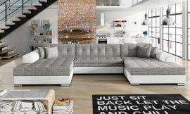 Corner sofa bed Helena-white-grey